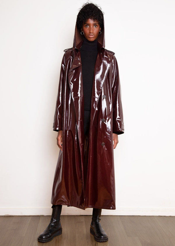 Glossy Patent Hooded Trench Parka in Merlot Coat The Frankie Shop