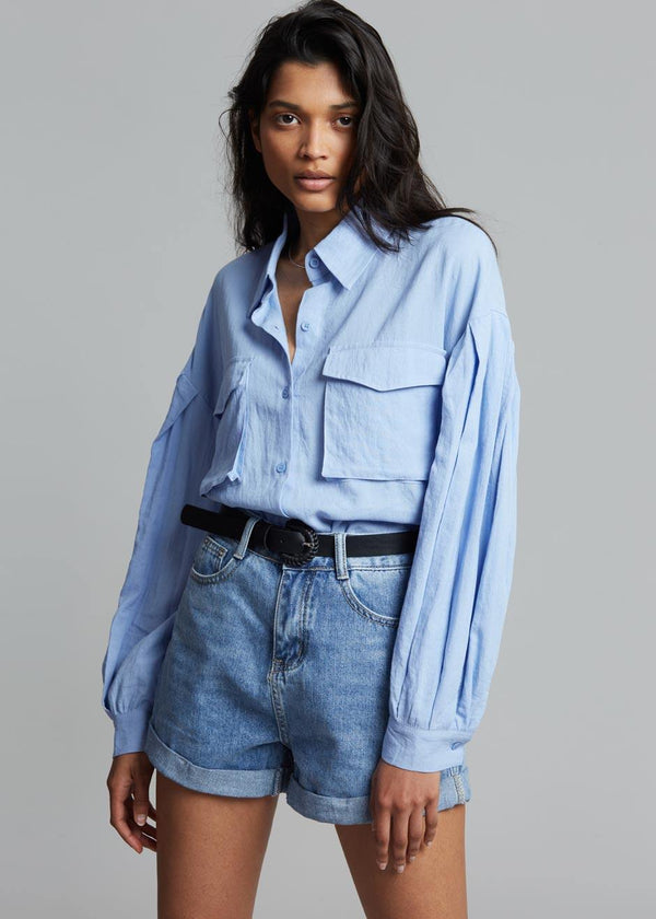 Gracia Pleat Sleeve Shirt - Dusty Blue Shirt Blanche