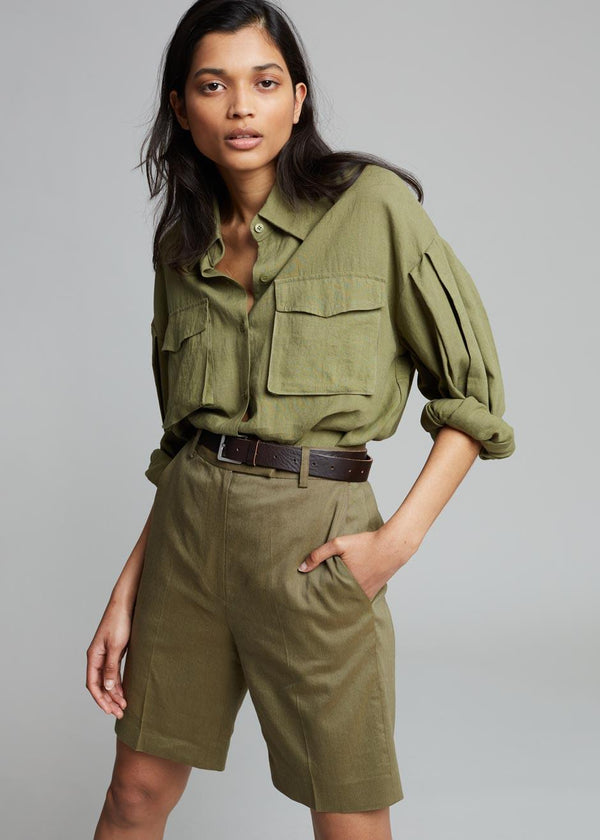 Gracia Pleat Sleeve Shirt - Sage Shirt Blanche