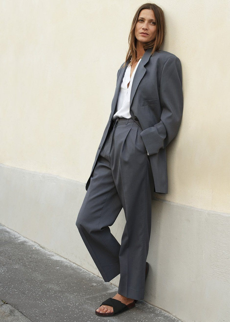 Graphite Notch Lapel Blazer Blazer More than Yesterday