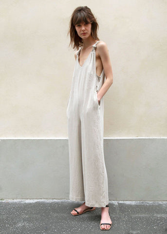 Greige Belted Jumpsuit with Knotted Straps Jumpsuit Almond pepe