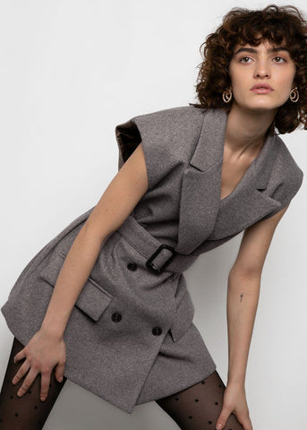 Grey Herringbone Sleeveless Belted Blazer Blazer Ready 2 Wear