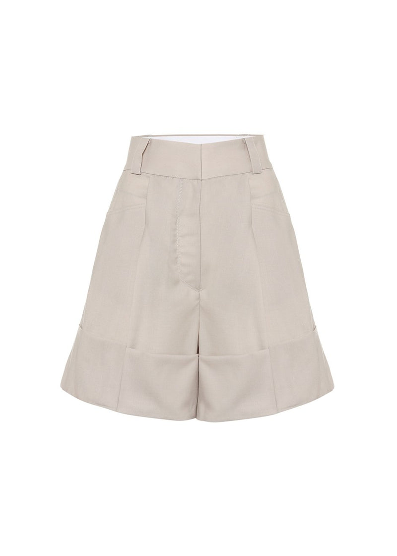 Half Turn Up Short Pants by Low Classic- Light Beige Shorts Low Classic