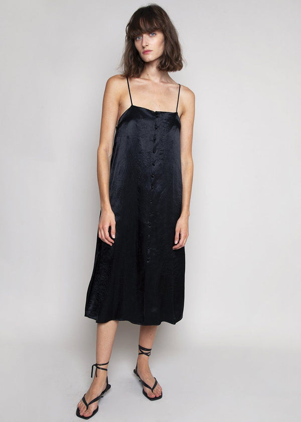 Hammered Satin Button Front Slip Dress Dress in Black Dress Cafe Noir