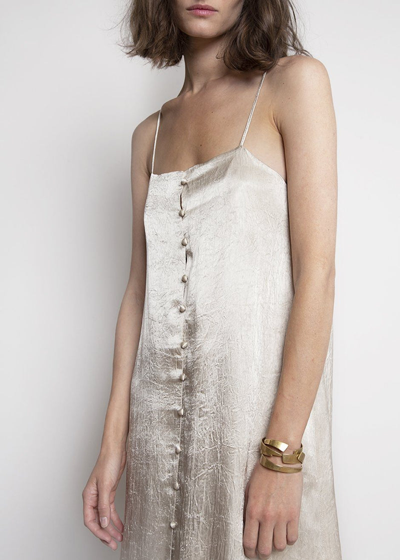Hammered Satin Button Front Slip Dress Dress in Champagne Dress Cafe Noir