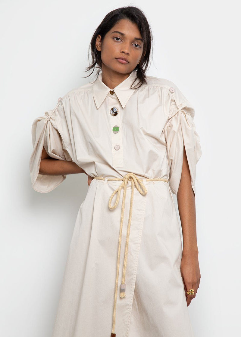 Hanna Peasant Dress by Nanushka- Off White Dress Nanushka