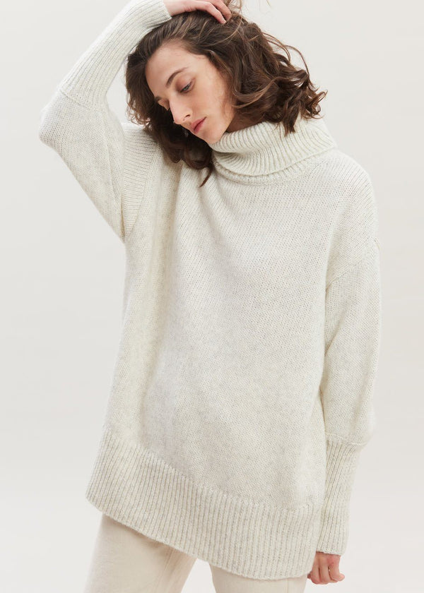 Hannali Roll Neck Sweater by Gestuz in Off White Melange Sweater Gestuz