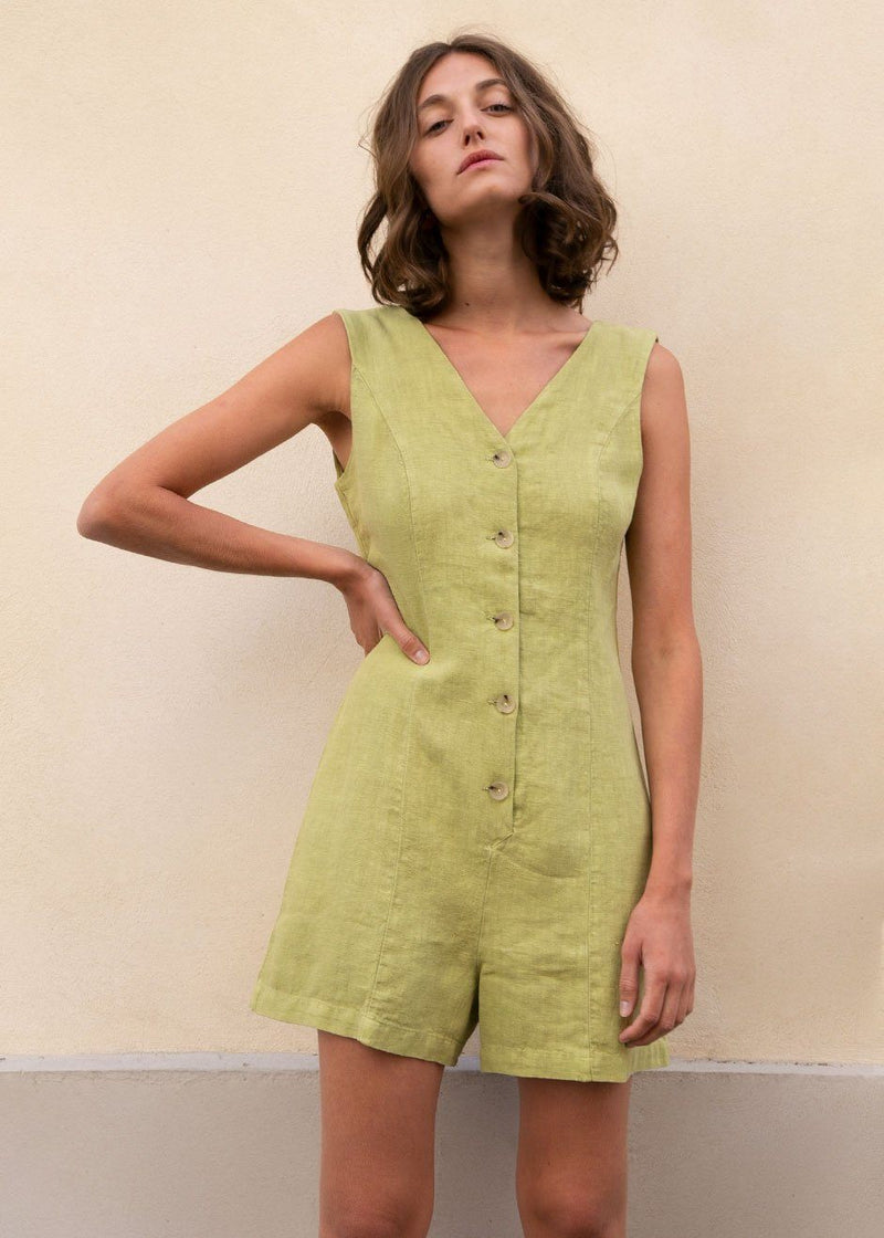 Hawa Linen Sleeveless Romper in Lime Green by Paloma Wool Romper Paloma Wool