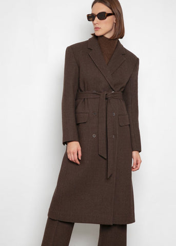 Heather Brown Melton Wool Coat Coat Blossom