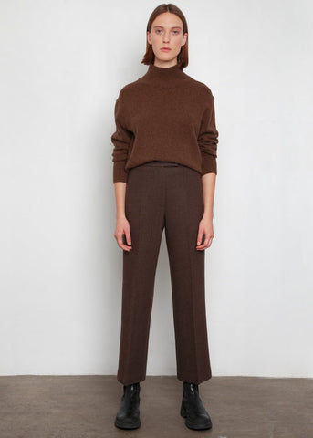 Heather Brown Melton Wool Trousers Pants Blossom