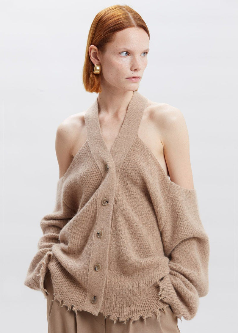 Hee Oversized Cut-Out Cardigan by Nanushka in Latte Sweater Nanushka