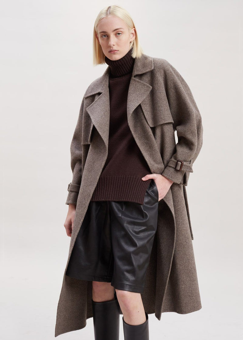 Herringbone Wool Trench Coat in Shitake Coat Ave 29th