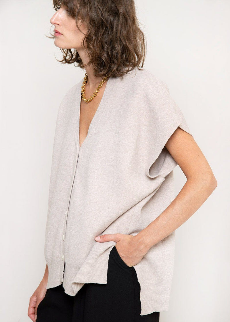 High-Low Modal Blend Vest in Dove Vest The Frankie Shop