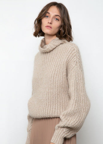 High Neck Ribbed Sweater in Taupe Sweater Blossom