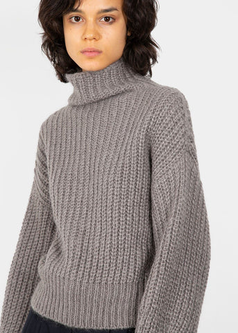 High Neck Ribbed Sweater in Warm Grey Sweater Blossom