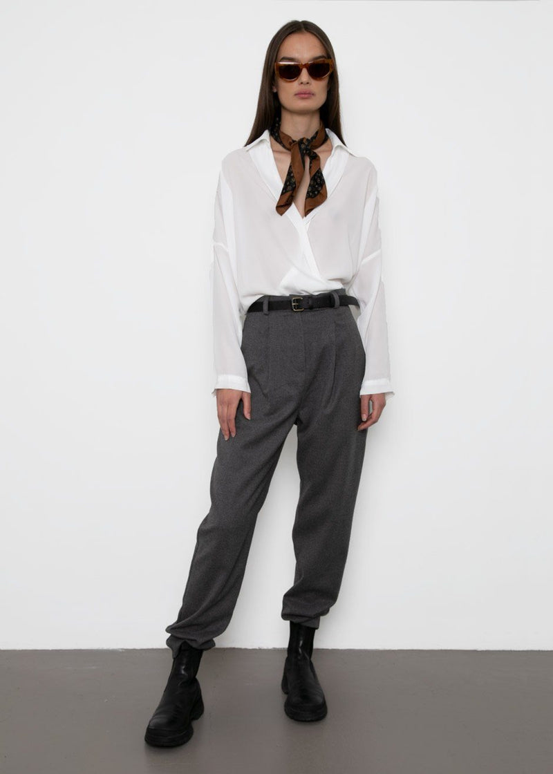 High Rise Brushed Wool-Blend Pants- Ash Grey Pants The Wave