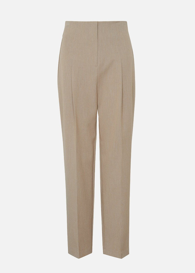 High Rise Front Pleat Pants in Travertine Pants Feffer