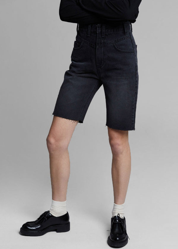 High Waist Denim Long Shorts in Black Shorts Another.J