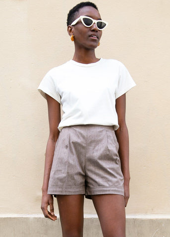 High Waisted Cuffed Shorts in Flecked Brown Shorts Rolling Paper