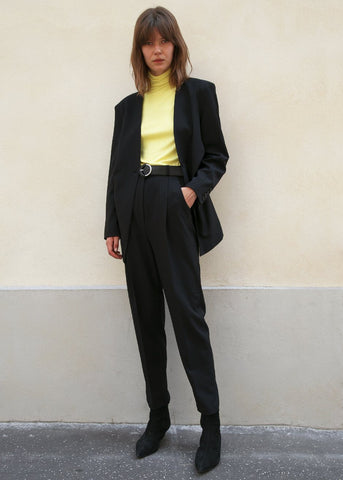 High Waisted Suit Pants w/Circle Belt in Black Pants Stage