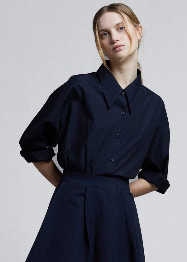 Hilma Button Down Shirt - Deep Navy Shirt The Frankie Shop