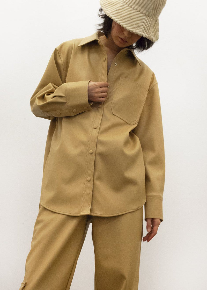 Honey Beige Leather Shirt Shirt L'art