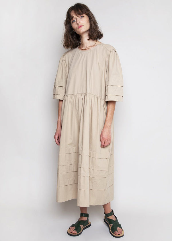 Horizontal Pleat Midi Dress in Sand Dress Storytag Love Yourself