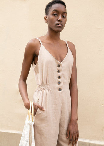 Horn Button Linen Jumpsuit with Thin Straps in Taupe Jumpsuit hers