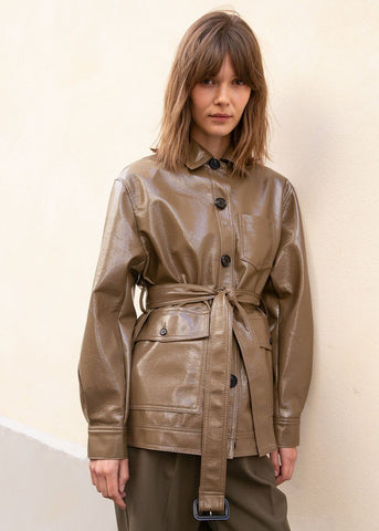Ilenia Patent Shirt Jacket in Mud Brown Jacket The Frankie Shop