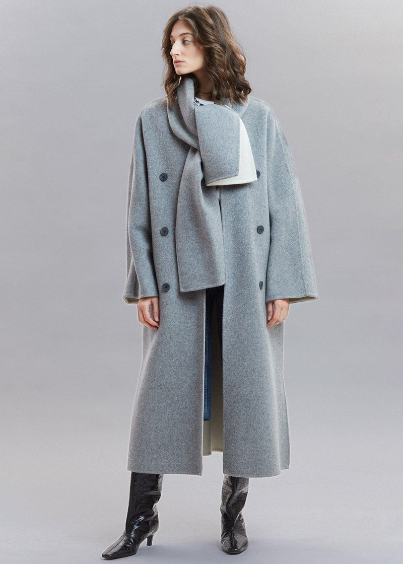Inner Contrast Collarless Wool Coat with Scarf in Heather Grey Coat 1968