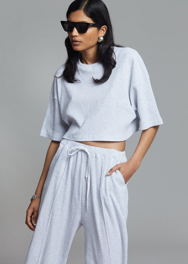Ivo Waffle Knit Tee - Soft Grey top The Frankie Shop