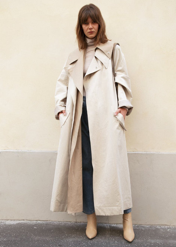Ivory Layered Trenchcoat by Low Classic Coat Low Classic