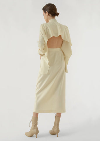 Ivory Open Back Belted Cape Dress by Materiel Tbilisi Dress Materiel Tbilisi