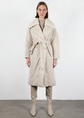 Ivory Padding Belted Coat by Low Classic Coat Low Classic