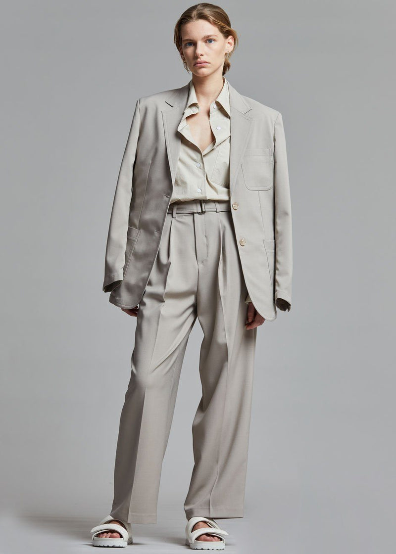 Jacques Belted Suit Pants - Stone Pants The Frankie Shop