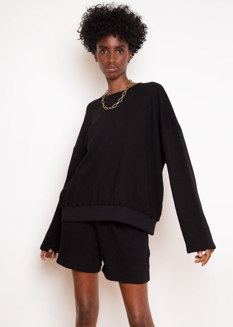 Jaimie Cotton Top and Shorts Set in Black Set The Frankie Shop