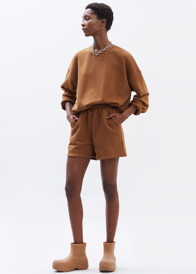 Jaimie Cotton Top and Shorts Set in Chocolate Brown Set The Frankie Shop