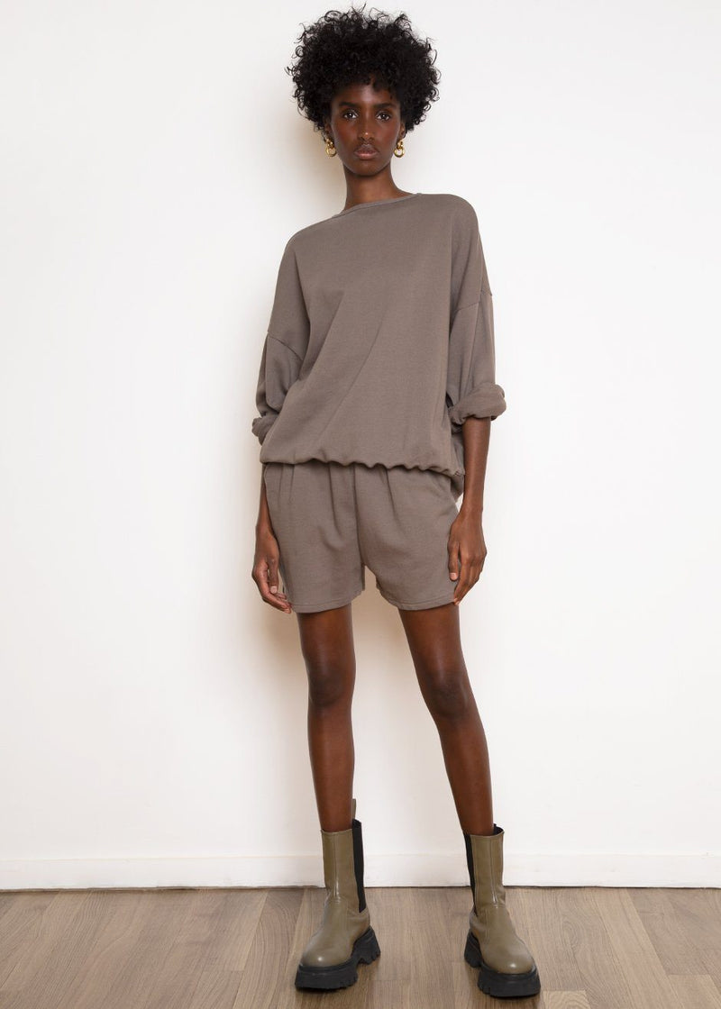 Jaimie Cotton Top and Shorts Set in Taupe Set The Frankie Shop