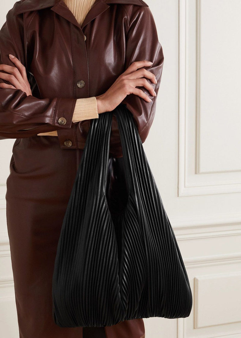 Jo Pleated Vegan Leather Tote by Nanushka in Black Bag Nanushka