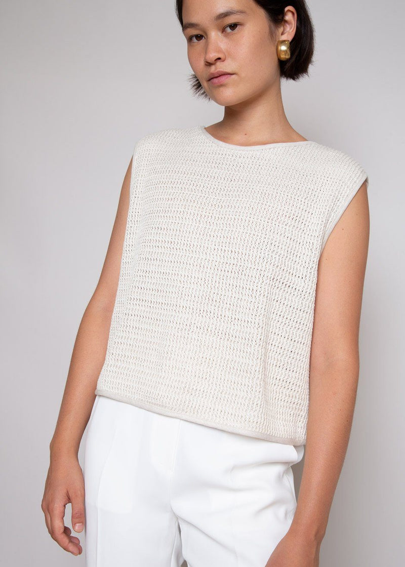Joice Textured Wide Shoulder Knit Tank by Áeron in Sand Top Aeron