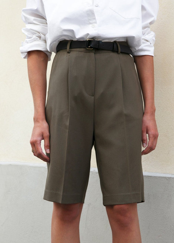 Julie Bermuda Shorts in Olive Green Shorts The Frankie Shop