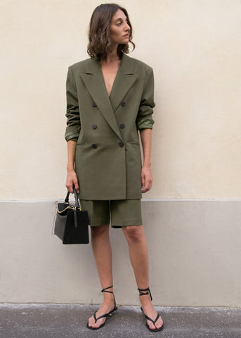 Julie Criss Cross Blazer in Olive Green Blazer The Frankie Shop