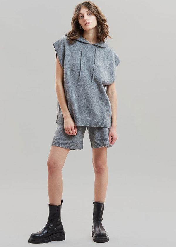 Juno Sleeveless Knit Hoodie - Grey Melange Top The Frankie Shop