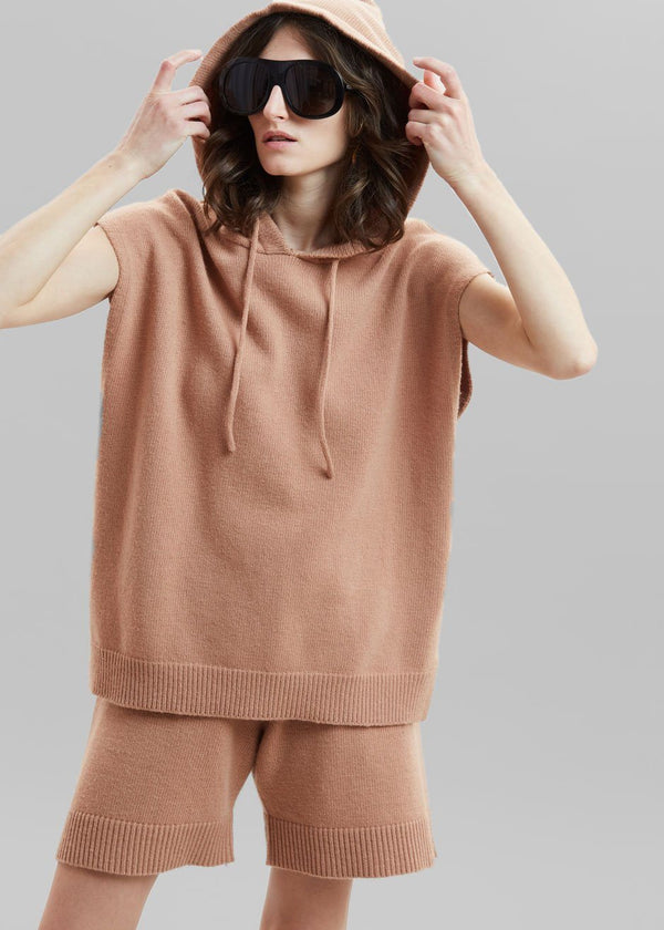 Juno Sleeveless Knit Hoodie - Terra Cotta Top The Frankie Shop