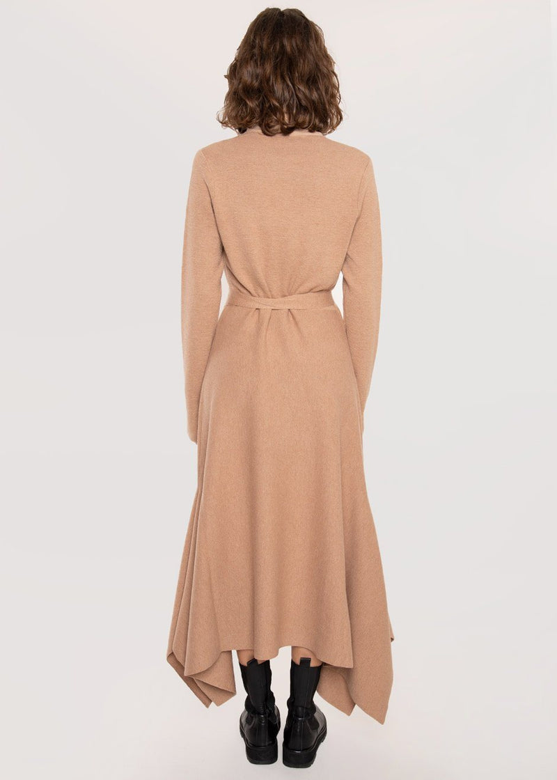 Katalina Knit Wrap Dress by Rodebjer in Camel Dress Rodebjer