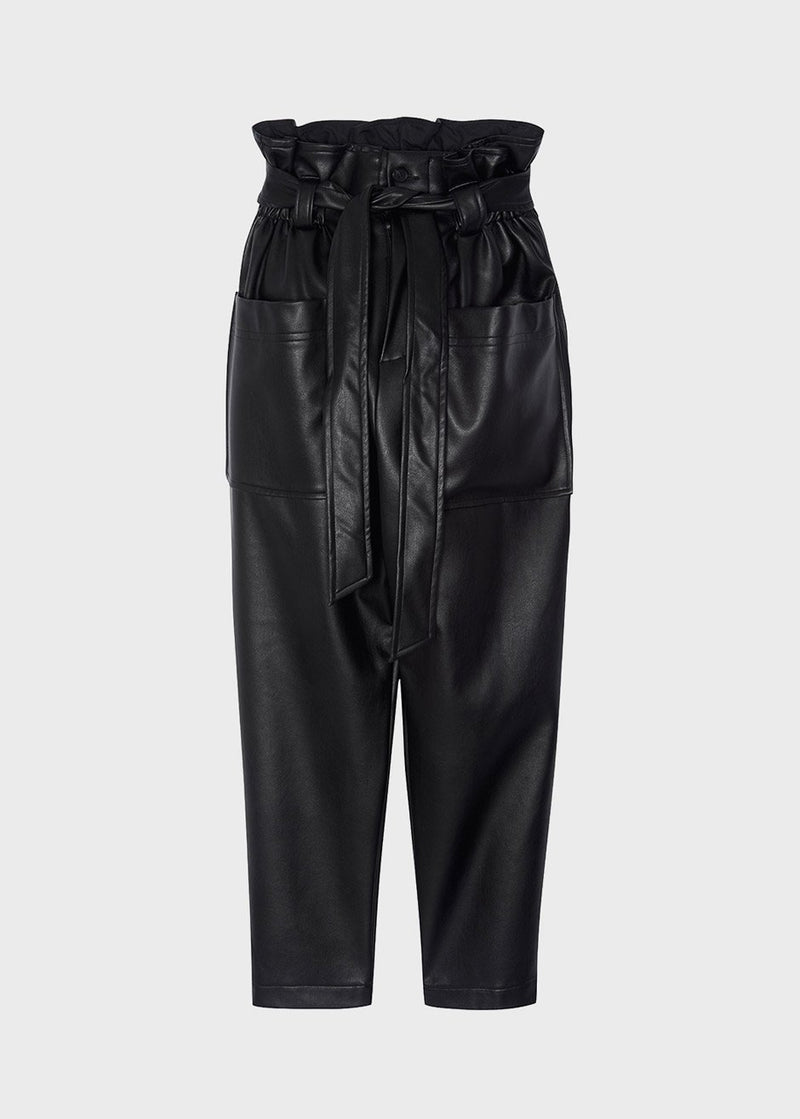 Kate High Waist Paperbag Pants in Black Pants The Frankie Shop