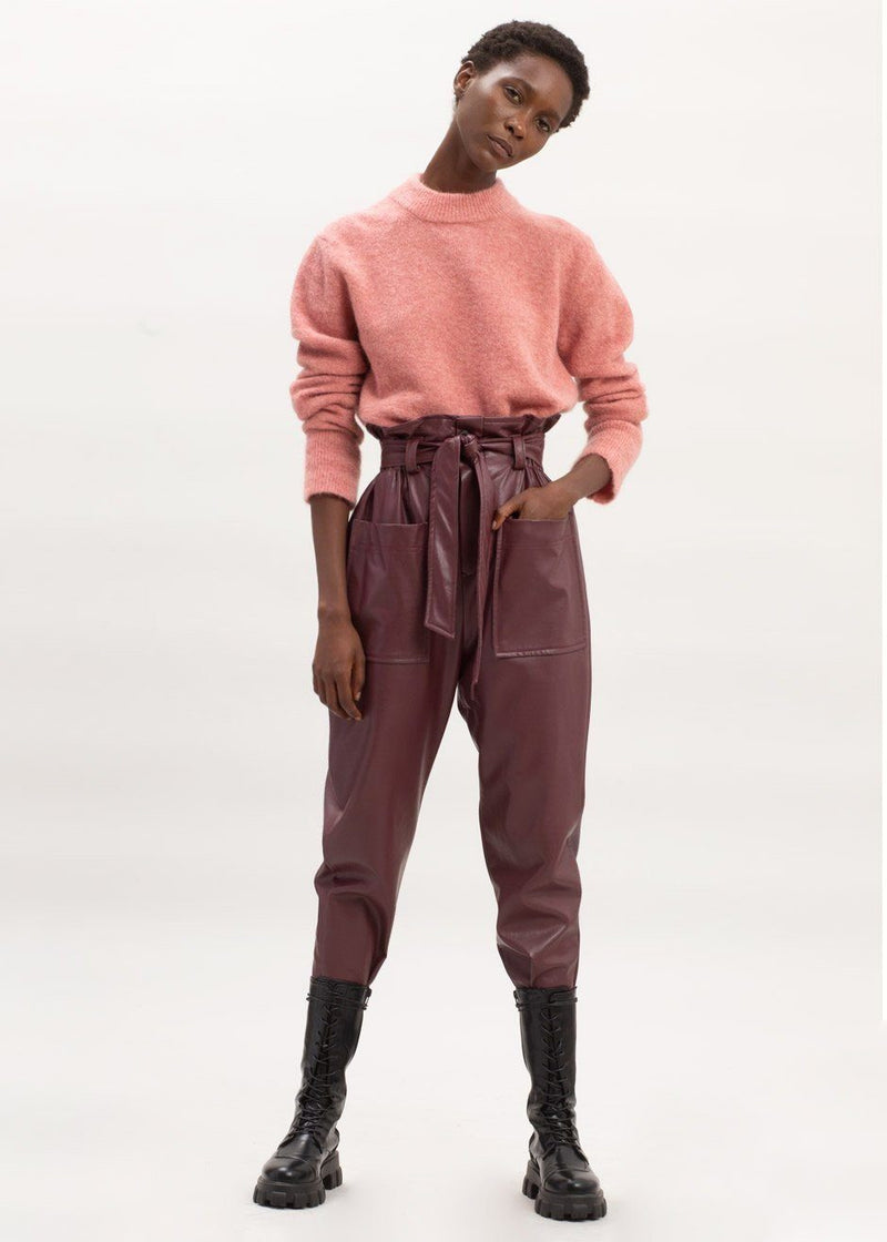 Kate High Waist Paperbag Pants in Bordeaux Pants The Frankie Shop