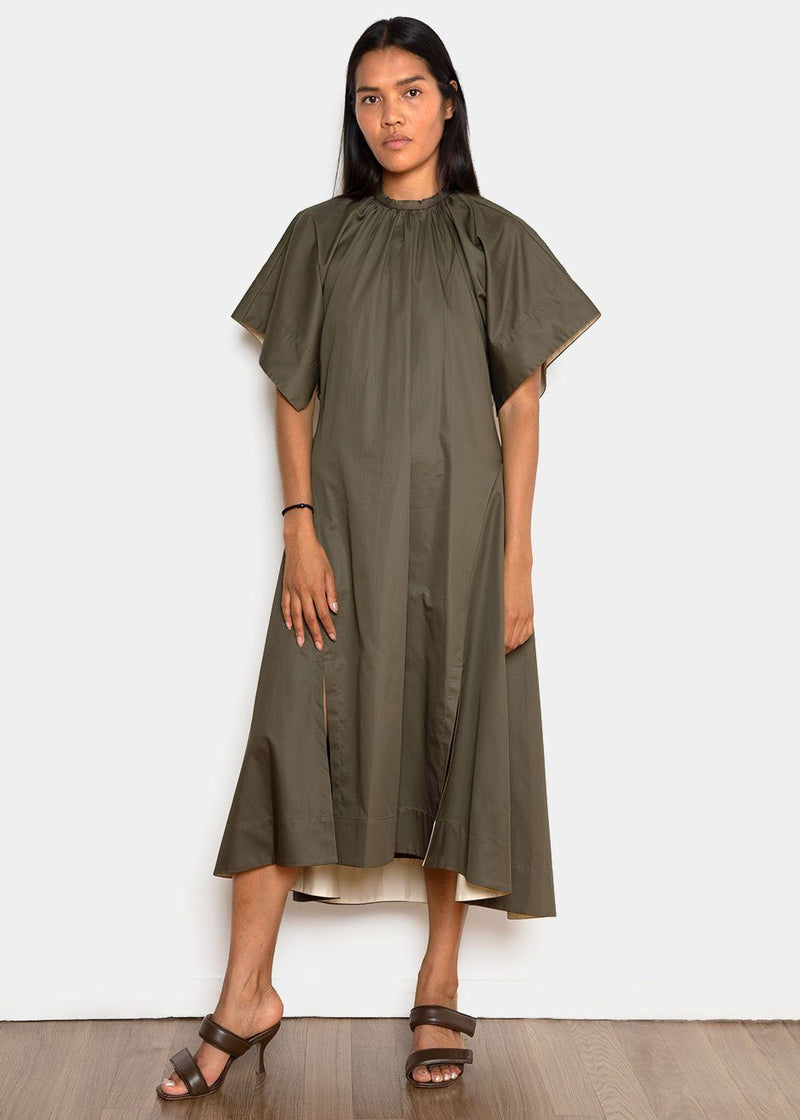 Kendra Dress by Eudon Choi in Khaki/Cream Dress Eudon Choi