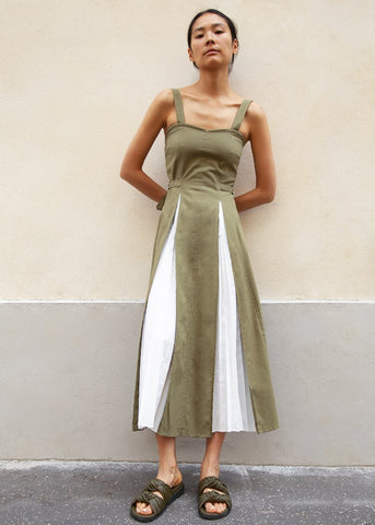 Khaki Green Midi Dress with White Contrasting Inverted Pleats Dress Stage