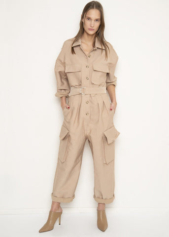 Khaki Patch Pocket Utility Jumpsuit Jumpsuit Black Fuchsia